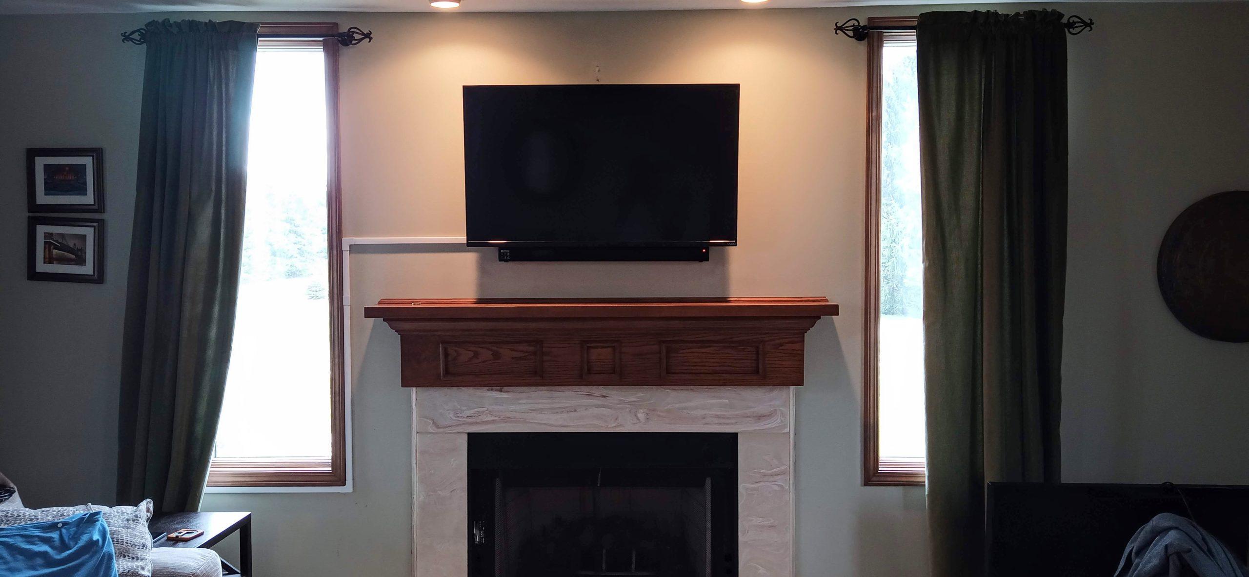 TV above fireplace installation